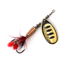 Load image into Gallery viewer, FTK 1Pcs Mepps Spinner Bait 7.5g 12g 17.5g Spoon Lures Metal Fishing Lure Bass Hard Bait With Feather Treble Hooks  13 colors