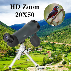 20x50 Zoom Monocular Outdoor Telescope with Tripod Night Version Spotting Scope