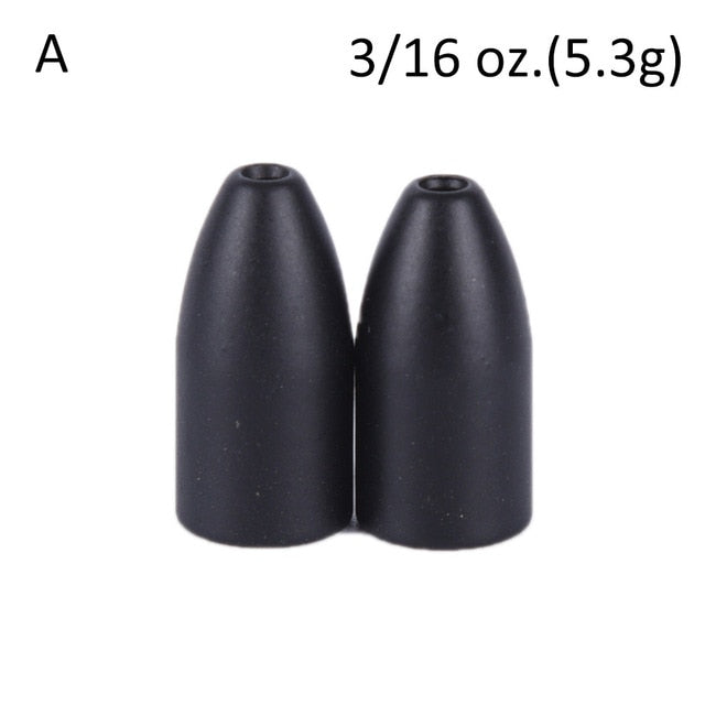 2Pcs/lot Black Copper Alloy Bullet Worm Weight Flipping Weight Fishing Sinker Lure Fishing Accessory High Quality