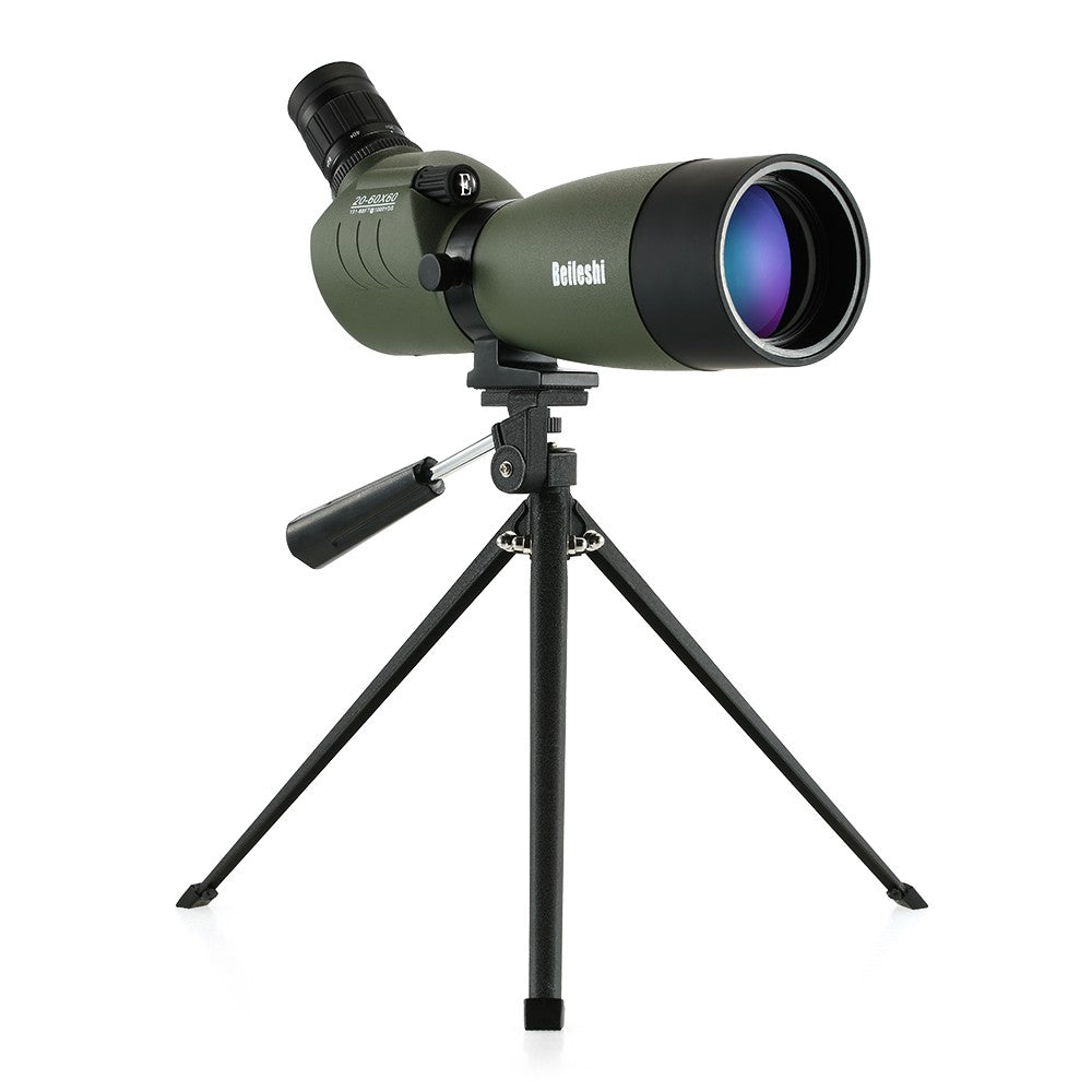 20-60x60 Waterproof Angled Spotting Scope Monocular Telescope with Tripod Carry Case for Bird Watching Traveling