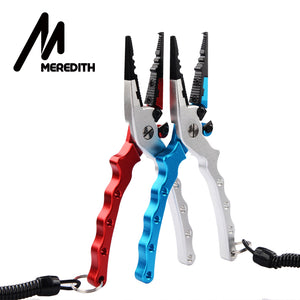 MEREDITH Aluminum Alloy Fishing Pliers Split Ring Cutter Fishing Holder Tackle with Sheath&Retractable Tether Combo Hook Remover