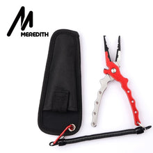 Load image into Gallery viewer, MEREDITH Aluminum Alloy Fishing Pliers Split Ring Cutter Fishing Holder Tackle with Sheath&Retractable Tether Combo Hook Remover