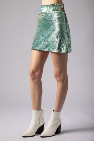 beautiful sexy sequin mint mini skirt