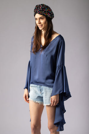 satin beautiful blue blouse top