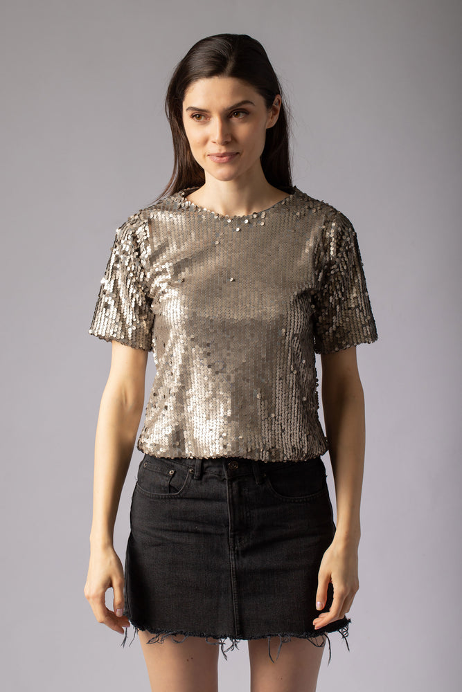 beautiful t-shirt with golden sequins