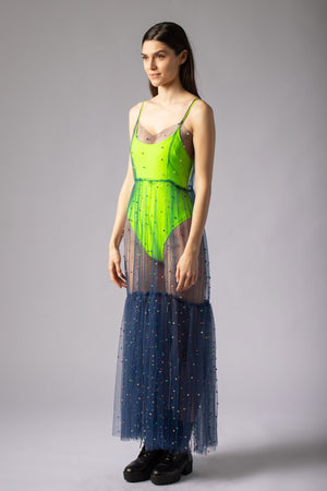 beautiful transparent midi dress with pearls