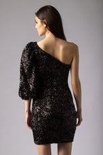 beautiful one shoulder black sexy sequin dress