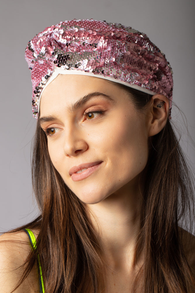 pink sequin turban head accessory headband