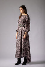 beautiful romantic lavender lilac maxi dress animal print