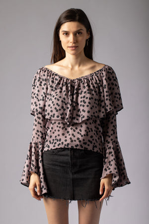 beautiful animal print lilac lavender top blouse with ruffles