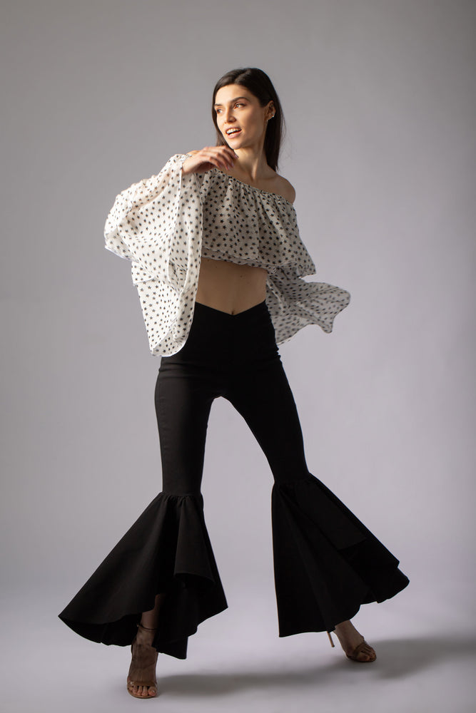 beautiful white silk crop top with stars print and many ruffles