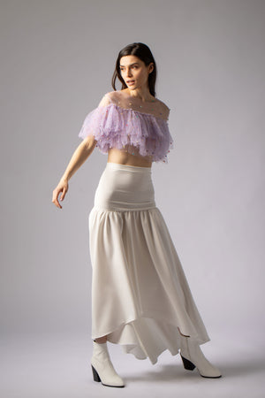 beautiful high low white skirt
