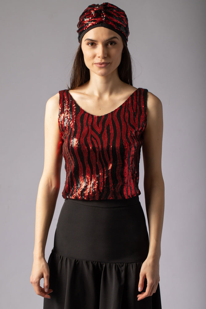 tiger zebra print animal print sequin read and black top