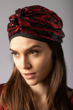 beautiful gorgeous back and red sequin turban head accessory headband animal print