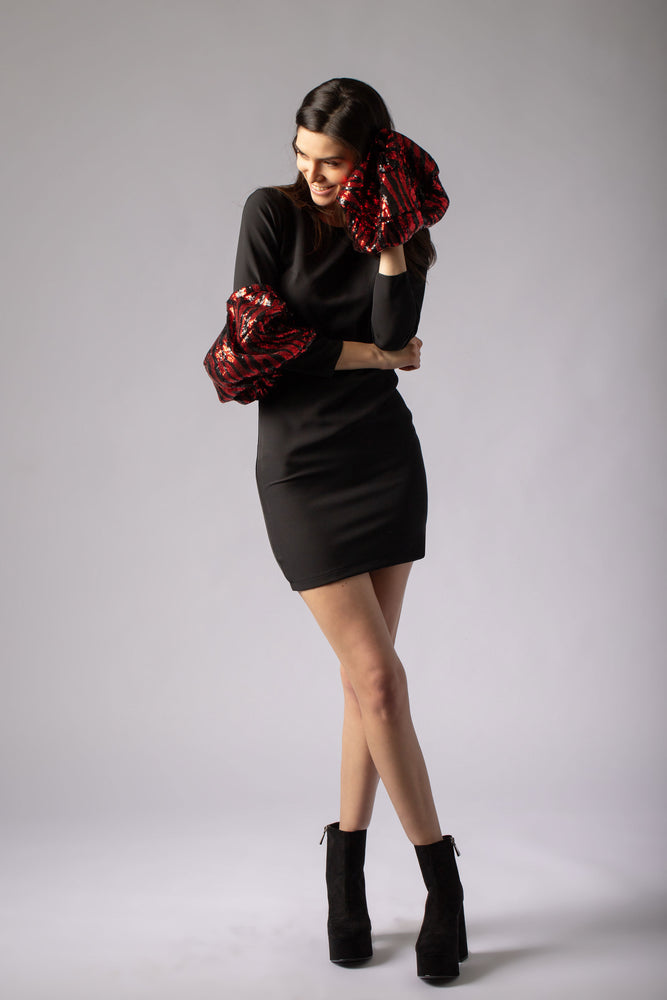 beautiful lbd little black dress with animal print sequins