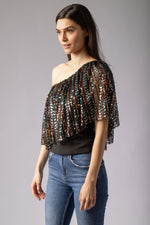 beautiful black sequin top blouse one shoulder