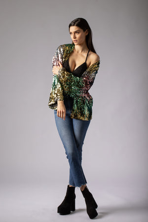 beautiful cascade sequin jacket cover up