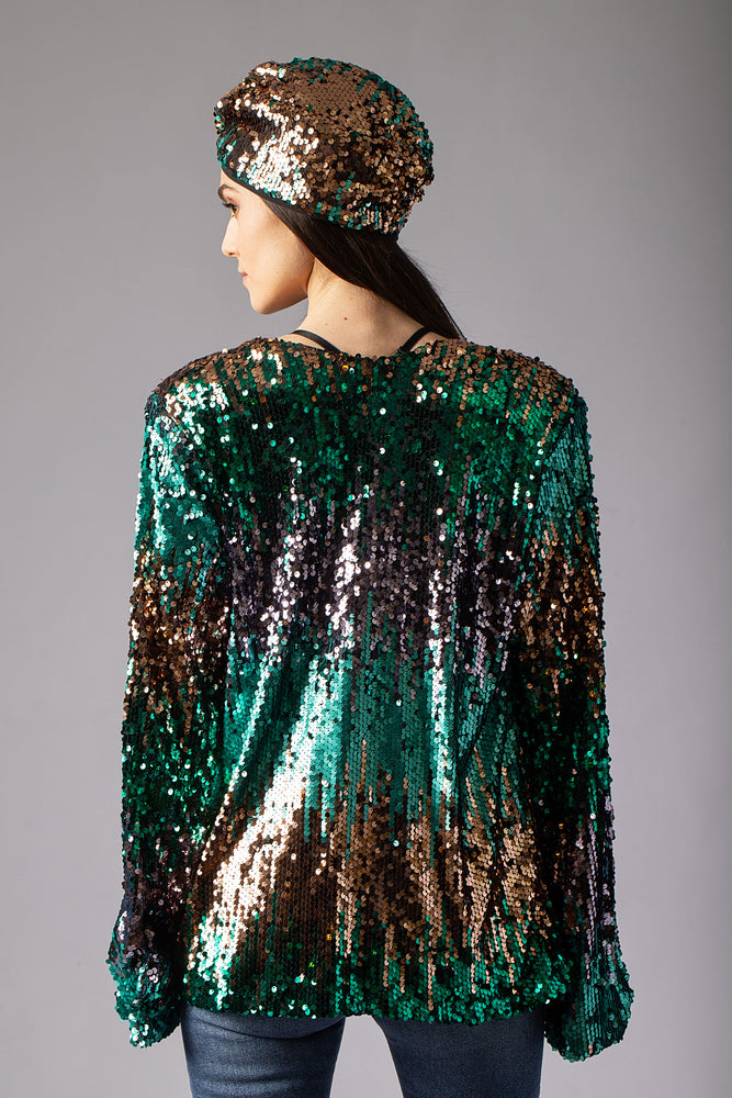 beautiful sequin turban headband head accessory  and sequin jacket