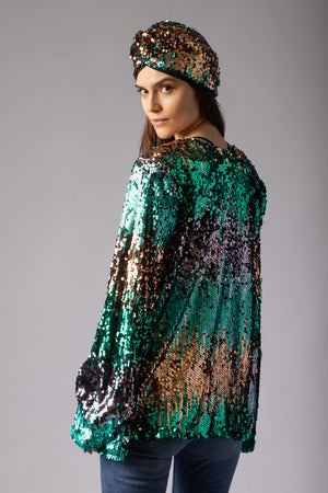 gorgeous multi coloured sequin jacket cover up  and sequin turban