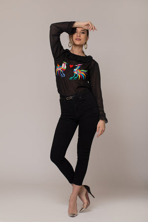 beautiful transparent black top blouse handmade hand embroidered heart and lovebirds