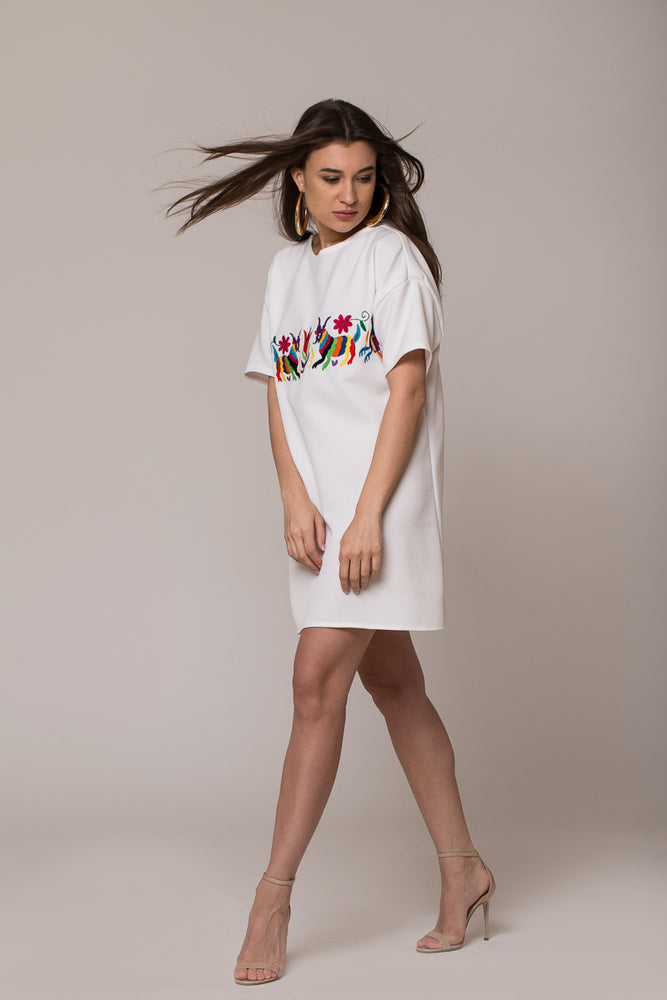 handmade hand embroidered mini white dress