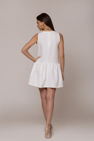 handmade hand embroidered white dress with bird
