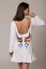 sexy hand-embroidered open back dress