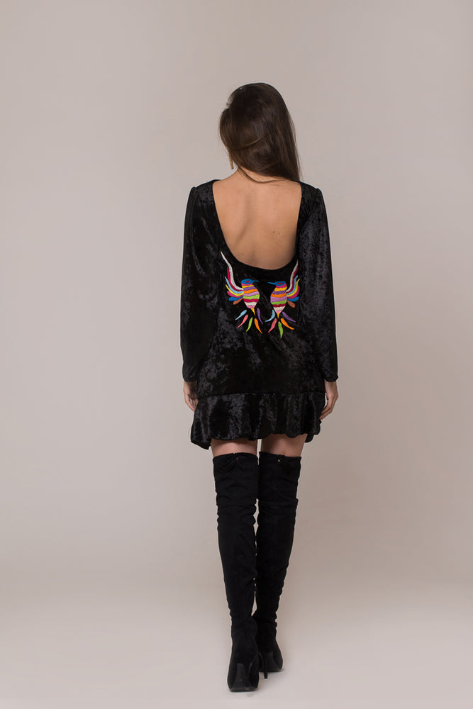 hand-embroidered open back black  velvet dress