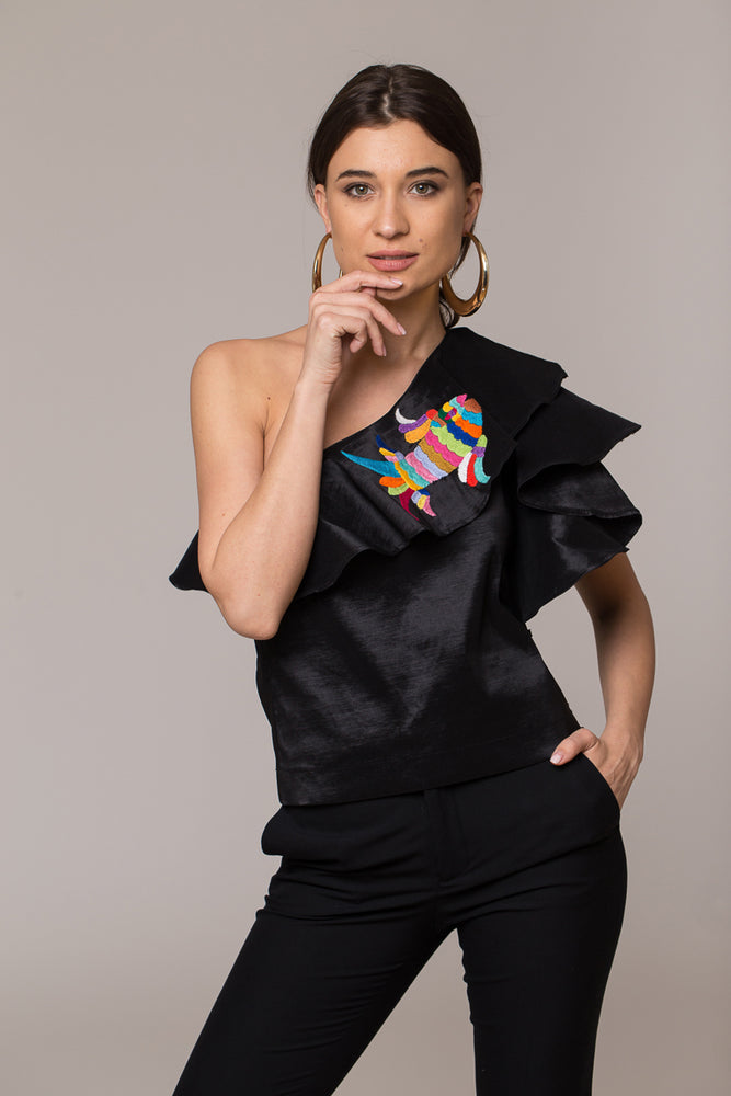 beautiful handmade hand embroidered oversized shoulder black top