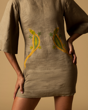 mini linen dress with hand made hand embroidered lizards in yellow green and beige