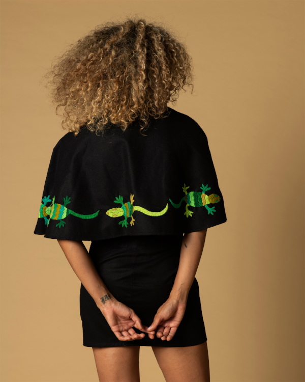 handmade hand embroidered black wool cape with green lizards