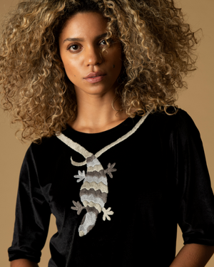 hand-embroidered black velvet top blouse