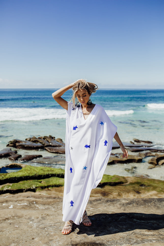 beautiful cotton  maxi white dress with handmade hand embroidered fish and stars