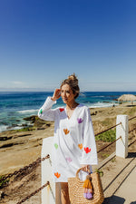 beautiful handmade hand embroidered white dress kaftan with cacti for beach