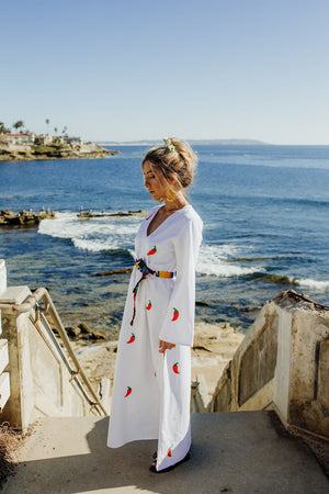 maxi white cotton kaftan long dress with handmade hand embroidered chillies