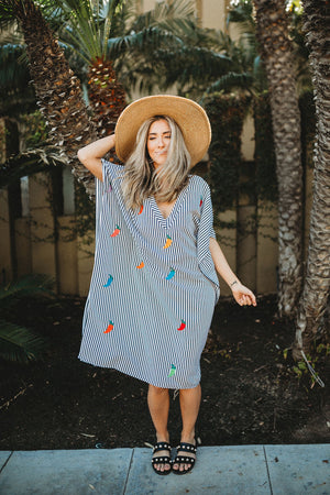 handmade hand embroidered kaftan beach dress with stripes