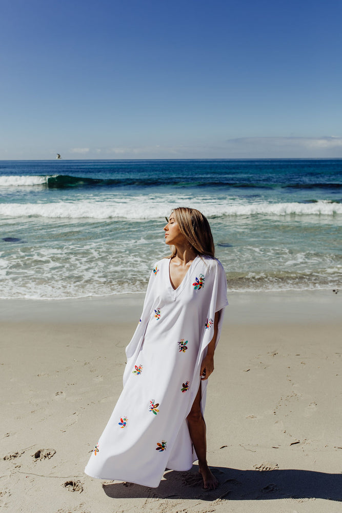 beautiful white cotton maxi dress with handmade hand embroidered colourful butterflies for the beach