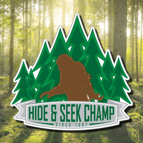 Hide & Seek Champion Vinyl Decal - Bigfoot Decal, Bigfoot Sticker, Sasquatch Decal, Sasquatch Sticker, Laptop Decal, Car Window Sticker
