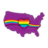 Rainbow Heart Equality and Love USA Vinyl Decal