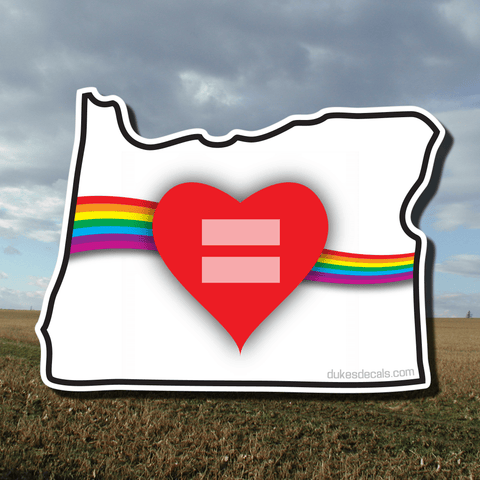 Red Equality and Love Heart Oregon State Vinyl Decal
