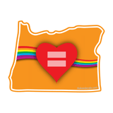 Red Equality Heart Oregon Vinyl Decal, Love Equality Decal, Laptop Decal, Car Window Decal, Water Bottle Sticker, Phone Decal, Bumper Sticker - Dukes Decals
