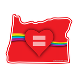 Red Equality Heart Oregon Vinyl Decal, Love Equality Decal, Laptop Decal, Car Window Decal, Water Bottle Sticker, Phone Decal, Bumper Sticker