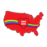 Red Equality Heart USA Vinyl Decal, Love Equality Decal, Laptop Decal, Car Window Decal, Water Bottle Sticker, Phone Decal, Bumper Sticker - Dukes Decals