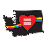 Red Equality Heart Washington Vinyl Decal, Love Equality Decal, Laptop Decal, Car Window Decal, Water Bottle Sticker, Phone Decal, Bumper Sticker