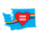 Red Equality And Love Heart Washington State Vinyl Decal