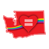 Red Equality Heart Washington Vinyl Decal, Love Equality Decal, Laptop Decal, Car Window Decal, Water Bottle Sticker, Phone Decal, Bumper Sticker - Dukes Decals