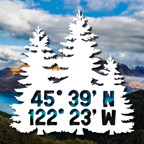 Custom Trees Vinyl Decal - GPS Decal, GPS Sticker, Trees Decal, Outdoors Decal, PNW Decal, PacNW Sticker, Custom Coordinates Decal - Dukes Decals