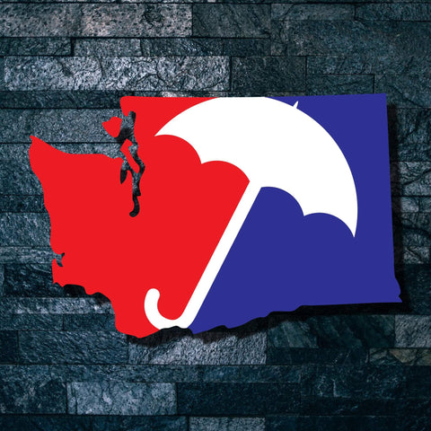 Major League Rain Washington State Vinyl Decal - Washington Decal, Laptop Decal, Car Window Decal