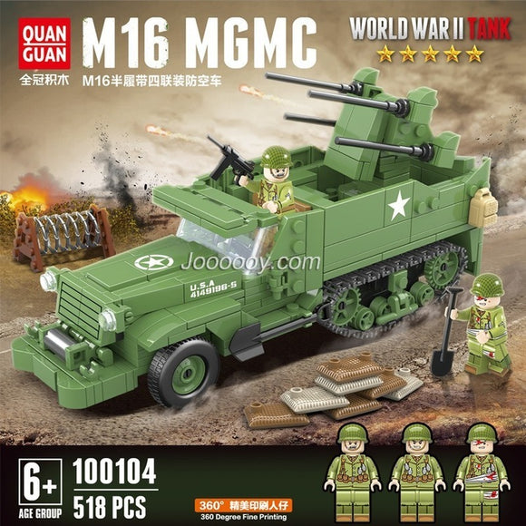 518PCS QUANGUAN 100104 M16 half-track air defense vehicle