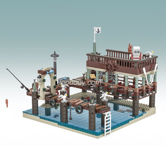1402Pcs Urge Fish House Pier compatible old fishing store 30101